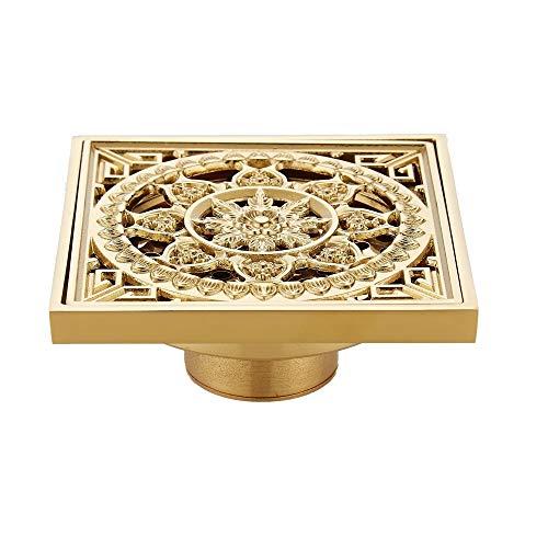 QuRRong Bodenablauf Platz Bodenablauf Abfallablaufabdeckung for Badezimmer Dusche All Kupfer Vergolden Anti-Geruchs-Copper-Core-Dual-Use für Hotel Badezimmer (Color : A, Size : ONE Size)