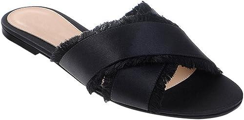 LYY.YY LYY.YY Croix Ceinture Gland Plage Chaussures Femmes Sandales De Vacances Occasionnels Chaussures Plates en Forme De Chaussures Pantoufle  en ligne pas cher