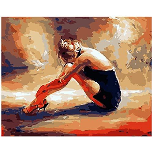 Wxswz kind volwassenen schilderij schilderen op nummer DIY vrouw draagt hoge hakken figuur acryl huis decoratie kunst foto gift 40x50cm zonder lijst