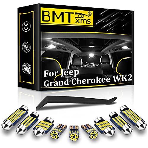 BMTxms 17Pcs Canbus LED Interior Car Lights Package Kit for Grand Cherokee WK2 2011 2012 2013 2014 2015 2016 2017 2018 Interior LED Lights + License Plate Lights (6000K White)