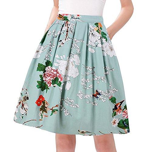 Taydey 50's Rockabilly Retro Pleated Skirt Bubble Style Size S Green Flower