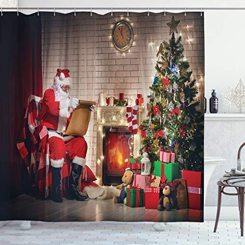 ABAKUHAUS Weihnachtsmann Duschvorhang, Santa Lesung Brief nach Hause, mit 12 Ringe Set Wasserdicht Stielvoll Modern Farbfest & Schimmel Resistent, 175x200 cm, Mehrfarbig