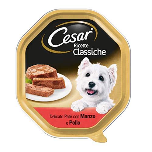 Cesar® - Recetas Clásicos - Recetas clásicas de Comida para Perros con Cortes tiernos en un Delicioso paté con Ternera y Pollo - Peso 150 gr - Cantidad 14 Tarrinas ✅