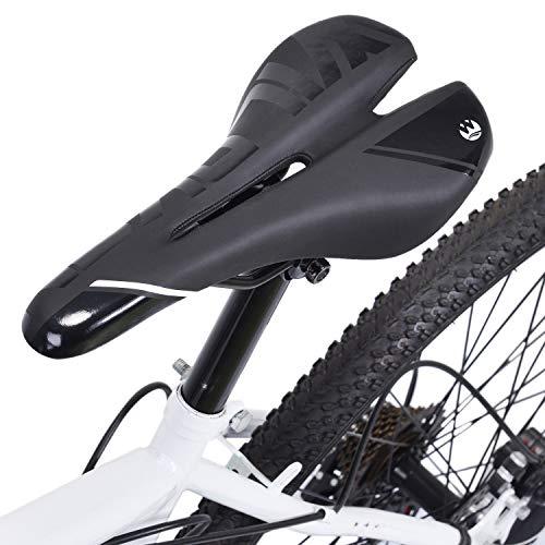 Asvert Sillin Bicicleta Gel MTB Carretera Asiento Ciclismo Superiorde Acero de Carbono (M1)