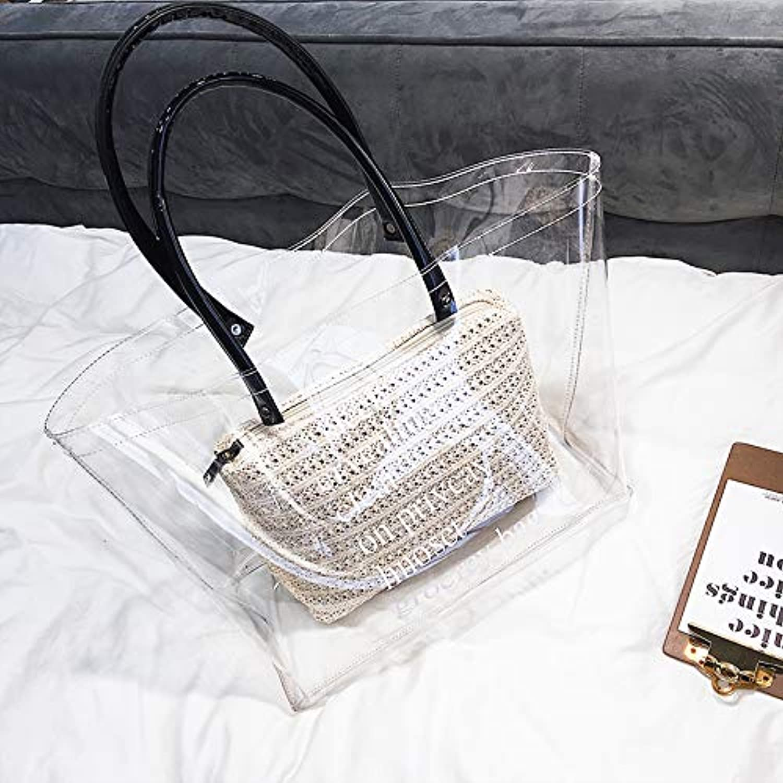 WANGZHAO Women's Bags, Shoulder Bags, Handbags, Transparent Letters, Simple Shopping Bags.
