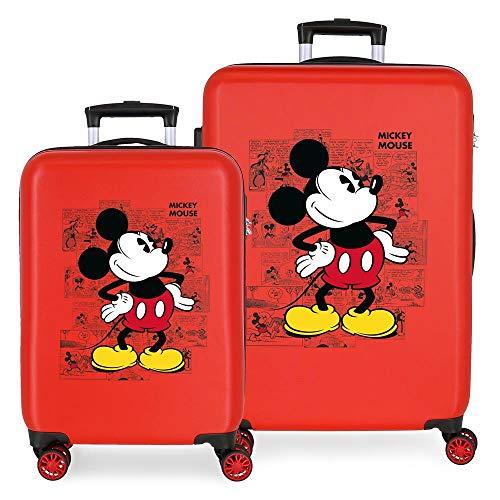 Disney Mickey Comic Juego de Maletas Rojo 55/68 cms Rígida ABS Cierre combinación 104L 4 Ruedas Dobles Equipaje de Mano