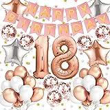 Amteker 18 Geburtstag Dekoration – 39 Stück Geburtstag Deko, Happy Birthday Ballons Banner, Konfetti Luftballons, Riesen Zahl Folienballons, 18. Geburtstagsdeko für Mädchen und Jungen