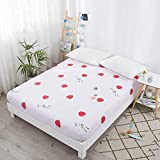 LUOYLYM 100% Algodón Impresión De Dibujos Animados Plaid Plaid Fitted Sheet Colchón Cover Four Corners With Elastic Band Bed Sheet J2100*200+15cm