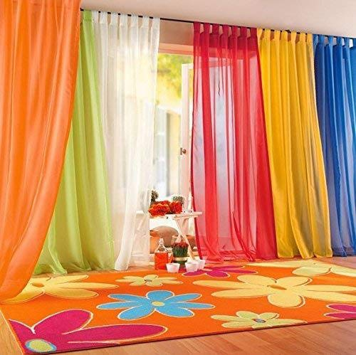 """IYUEGO Rainbow Color White Sheer Curtain Draperies with Multi Size Customs 50"""" W x 96"""" L (One Panel)"""