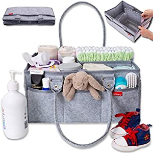 Groverly Baby Diaper Caddy Organizer – Baby Gift Basket | Portable Nursery Changing Table Storage Bag | Removable Handles Grey | Arts Craft Toy Caddy