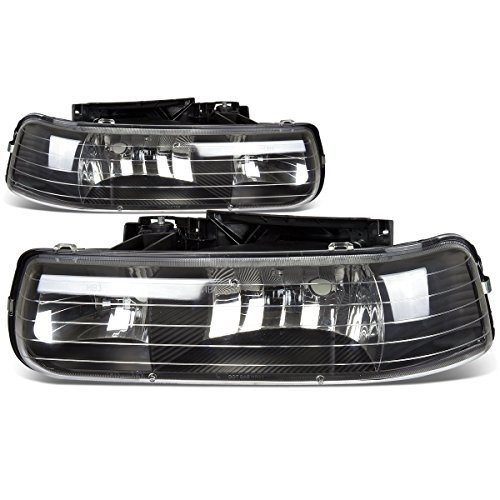 DNA Motoring HL-OH-CS99-2P-BK Black Housing Headlights Replacement For 99-06 SIlverado Suburban Tahoe