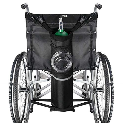 Rziioo Sauerstoffflaschentasche für Rollstühle mit Schnallen, passend für jeden Rollstuhl, schwarz