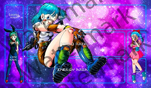 "Masters of trade Bulma Dragonball Dragon Ball Z Super DBZ DBS TCG CCG playmat gamemat 24"" Wide 14"" Tall for Trading Card Game Smooth Cloth Surface Rubber Base"