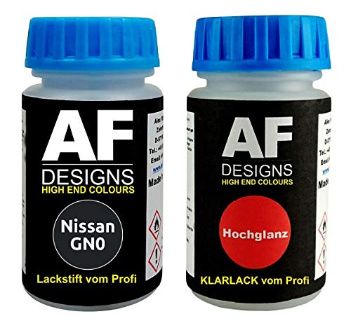 Lackstift für Nissan GN0 Black Metallic + Klarlack je 50ml Autolack Basislack Set