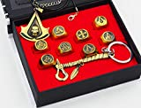LINJJ Vintage Jewelry Assassin's Creed Origin Necklace Ring Keychain Set Alloy Material Accessories Game Player Gifts-A