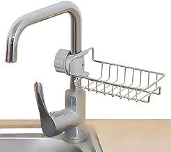 Deetto Soap, Sponge Holder, Stainless Steel Sink Caddy Organizer,Tap Organiser Clip Storage Rack Practical Home Kitchen Faucet Shelf Snap-on Faucet Rack Drain Rack for Soap, Sponges, Dish Sponge