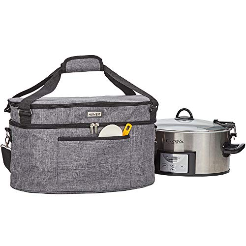 Slow Cooker Travel Bag with Easy to Clean Lining, Insulated Carrier with Zippered Accessory Pocket, Compatible with Crock Pot 6-8 Quart