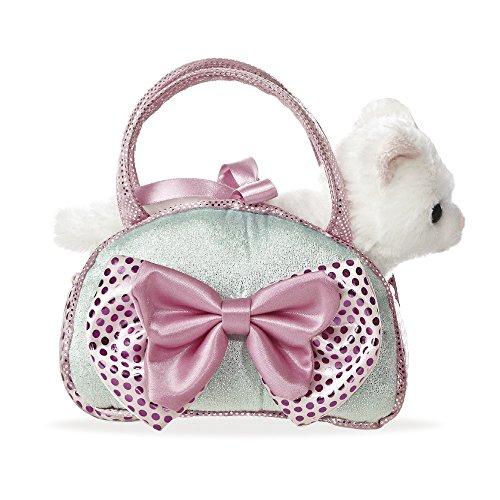 Aurora World 32732 - Fancy Pal weiße Katze in wunderschöner eisblauer Tasche mit rosa Schleife 8In, 20.5 cm