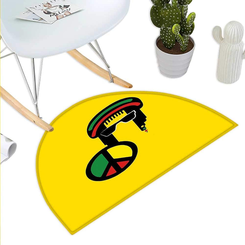 Jamaican Semicircle Doormat Reggae Culture Theme Composition Peace colorful Cartoon Design Ethnic Print Halfmoon doormats H 43.3  xD 64.9  Yellow Multicolor