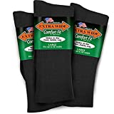 Extra Wide Lightweight Cotton Crew Comfort Fit Dress Socks (Pack of 3) Made in The USA (Black - Large)