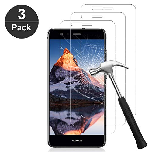 NONZERS Protector de Pantalla para Huawei P10 Lite, [3 Piezas] Cristal Vidrio Templado Premium [Dureza 9H] [Funda Compatible] [Anti-Arañazos] [Sin Burbujas] [3D Borde Redondo][Kit Fácil de Instalar]