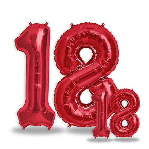 """FUNXGO® Folienballon Zahl in Rot 2 Stück – 40"""" + 16""""- Riesenzahl und kleine Ballons Folienballons für Luft und Helium als Geburtstag, Hochzeit , Jubiläum oder Fest , Party Dekoration (Rot[ 18 ])"""