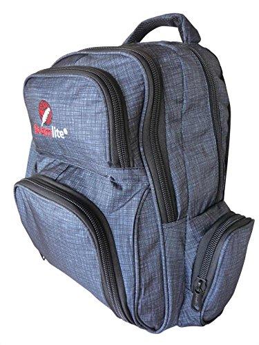 Roamlite Sac à dos pour enfant – Format A4 – 6 poches et trousse à crayons assortie – Nylon 46 cm x 32 x 20 cm 30 litres – Circuit de charbon de bois