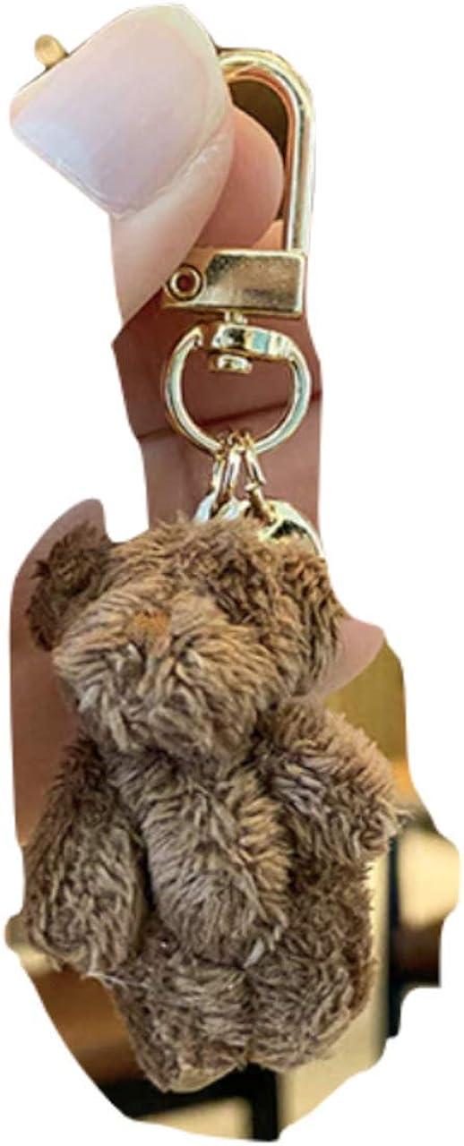 Cute Soft Bear Keychain, Durable Teddy Bear Keyring, Brown, Pink, White