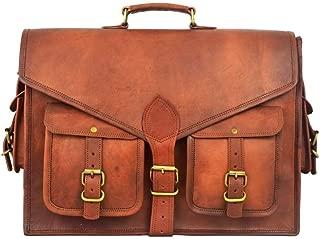 18 Inch Rustic Vintage Leather Messenger Bag Laptop Bag Briefcase Satchel Bag