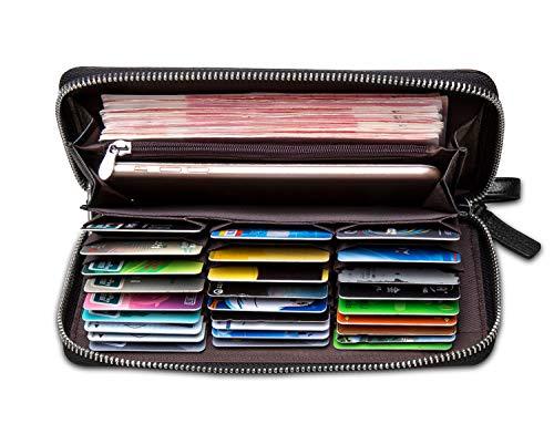 BISON DENIM Herren Kreditkartenetui aus echtem Leder, mit Reißverschluss, 27 Kreditkartenfächern