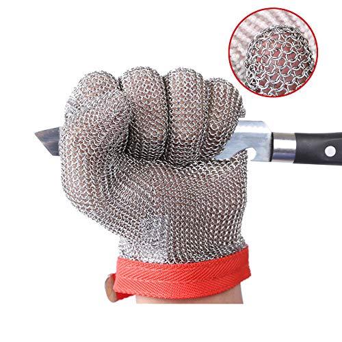 ThreeH Edelstahlhandschuhe mesh Schnittfest Stabbeständige Schutzhandschuhe zum Schneiden Schneiden Arbeiten GL08 M (1 Stück)