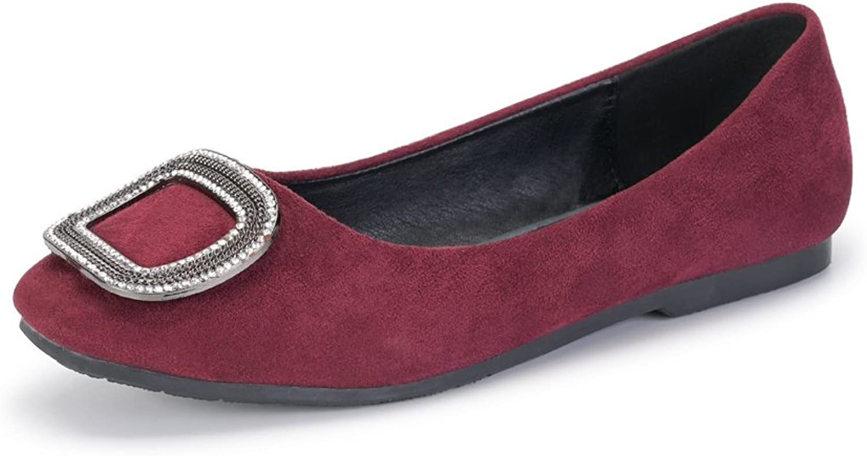 OCHENTA Women's Closed Toe Slip On Velvet Ballet Flat shoes with Crystal Metal Buckle