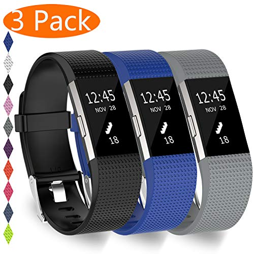 KingAcc Compatible Fitbit Charge 2 Bands, Soft Silicone Replacement Band for Fitbit Charge 2, Metal Buckle Fitness Wristband, 3-Pack Sport Strap for Women Men,(Black&DarkBlue&Gray,Large)