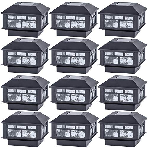 POWGDLT Solar Post Cap Lights Outdoor, Double LED Waterproof LED Fence Post Solar Lights, for 3.5x3.5/4x4/5x5 Wood Posts in Patio Yard Landscape Decoration, Deck or Garden Decoration 12Pack……