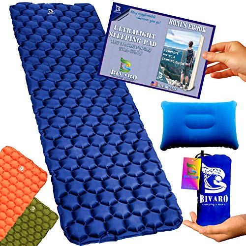 BIVARO Ultralight Sleeping Pad Blue for Backpacking -Travel and Hiking + Lightweight Pillow + Ebook...