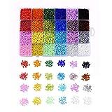 Ornaland Cuentas de Semillas de Vidrio Ambiental, 24 Colores, Cuentas Espaciadoras Redondas Transparentes de Pony para Hacer Joyas, Bricolaje, 2 mm / 3 mm