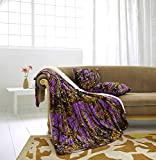 Regal Comfort The Woods Luxury 3pc Set Purple Sherpa 50'x70' Fleece Blanket and 18'x18' Plush Throw Pillows Home Collection - Siesta Throw Blankets with 2pc Decorative Pillows for Sofas and Couches