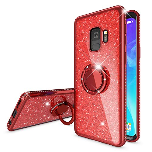 NALIA Ring Hülle kompatibel mit Samsung Galaxy S9, Glitzer Handyhülle Ultra-Slim Silikon Case Back-Cover mit 360-Grad Fingerhalterung, Schutzhülle Glitter Handy-Tasche Bumper Etui, Farbe:Rot
