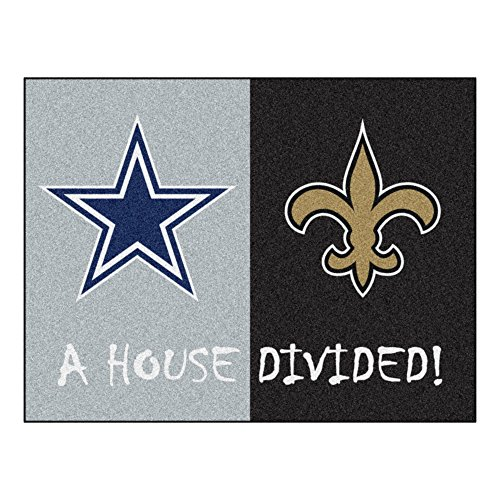 FANMATS - 15647 NFL House Divided - Cowboys/Saints Rug, 34