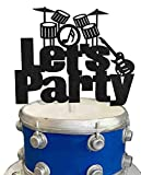 KAPOKKU Let's Party Drums Cake Topper for Music Birthday Rock and Roll 80's Themed Party Decorations