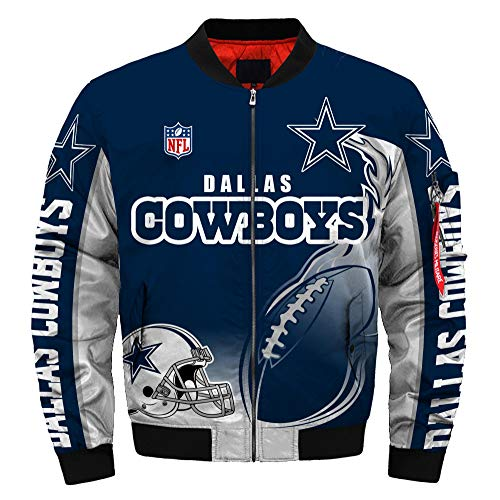 Football NFL Super Bowl Champions Jackets Mens Autumn Winter Outdoor Sports Big Size Outerwear Coats (Cowboys -2,M)