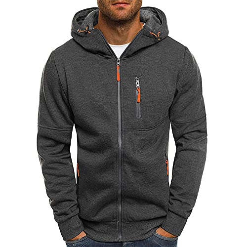 Sudadera con capucha para hombre, estilo deportivo, de color liso, corte regular, con cremallera, informal, fitness, entrenamiento, básica, informal, gris, XXL