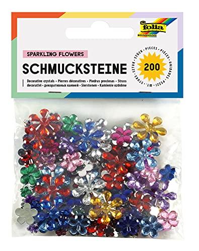 Folia 1242 - Mattoncini per decorare, fiori, varie dimensioni e colori, confezione da 200 , Modelli/Colori Assortiti, 1 Pezzo