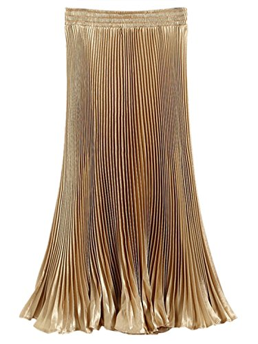 FEOYA Mujer Maxi Falda Plisada de Lustre Brillante Metálico Bohemia Dobladillo Grande Pleated Skirt - Dorado