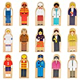 Little Professionals Wooden Character Set - Cute Wood Block People Toys for Kids & Toddlers - Open Ended STEM Pretend Play & Educational Games for Children, Boys & Girls (15-Pieces)