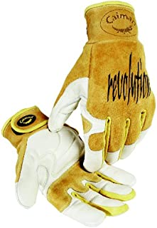 Caiman Genuine Top Cow Grain Leather Velcro� RevolutionTM Gloves (Large/Yellow)