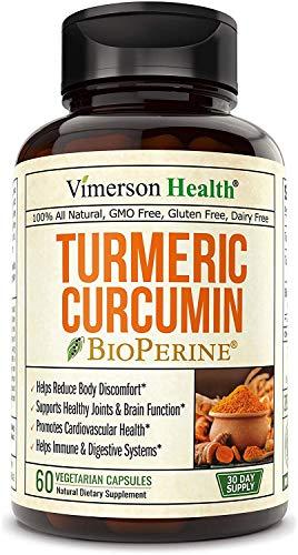 Cúrcuma | Vimerson Health | Suplemento de Curcumina de Cúrcuma con BioPerine | 10 Miligramos de Pimienta Negra para Absorción | 60 Cápsulas