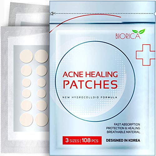 Invisible Acne Patch, Pimple Healing. Hydrocolloid Acne Spot Treatment, Sticker with Absorbing Cover for Healing Acne Dot, 108 Pieces, 8 mm, 10 mm, 12 mm Size>