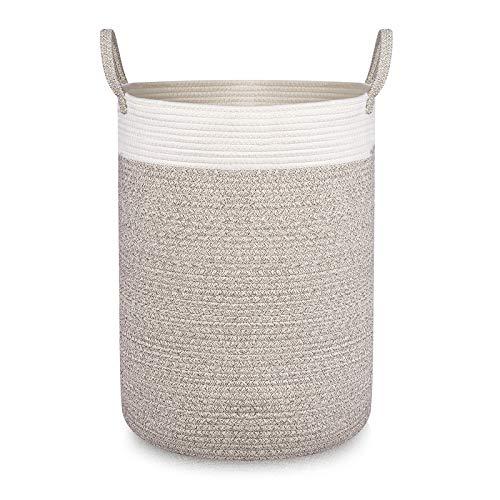 Hivexagon Cesta de Almacenamiento Tejida de algodón, Cesta Grande de Cuerda para guardería y Organizador con Asas para Mantas de bebé, Juguetes, Toallas y Ropa de D40 X H55cm