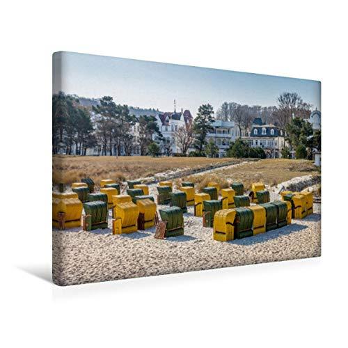 CALVENDO Premium Textil-Leinwand 45 x 30 cm Quer-Format Bunte Strandkörbe in Binz auf Rügen, Leinwanddruck von Christian Müringer